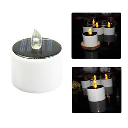 Solar Powered Led Candle Solar Light LED Lamp Cylindrical Yellow Tea Lig...